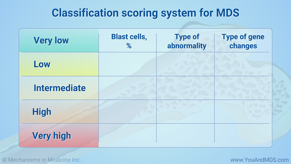 Classification scoring system for MDS